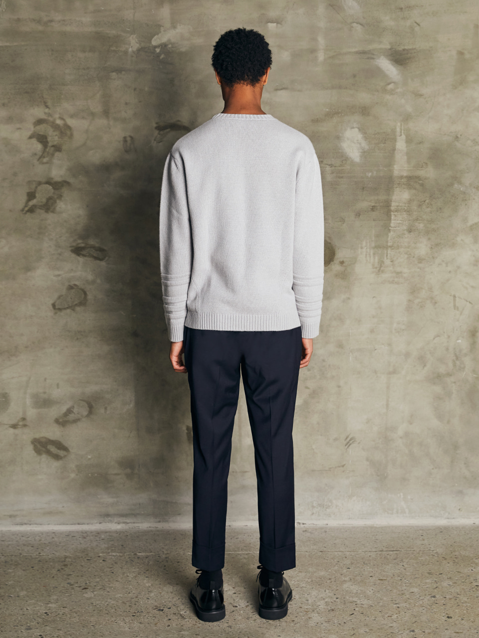 WOOL TURNED UP TROUSERS [DARK NAVY]