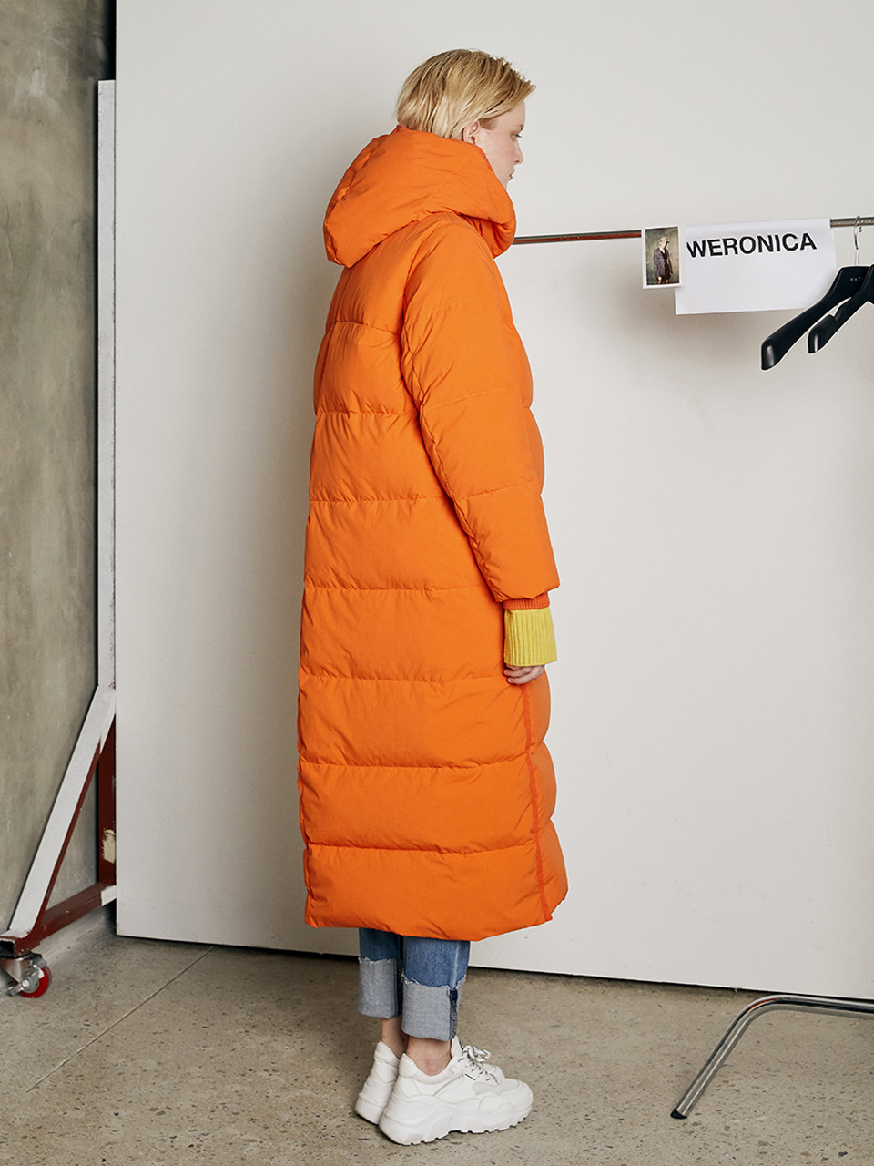 VIVID GOOSE DOWN LONG JACKET_ORANGE
