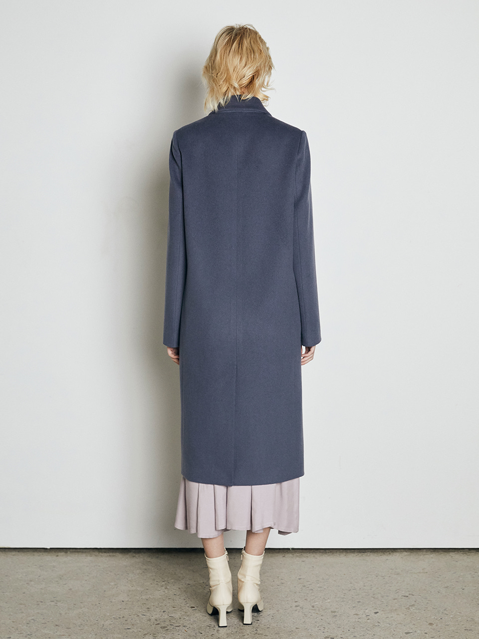 ⓗ [Premium] CASHMERE RACCOON HAIR MINIMAL COAT_BLUE GREY