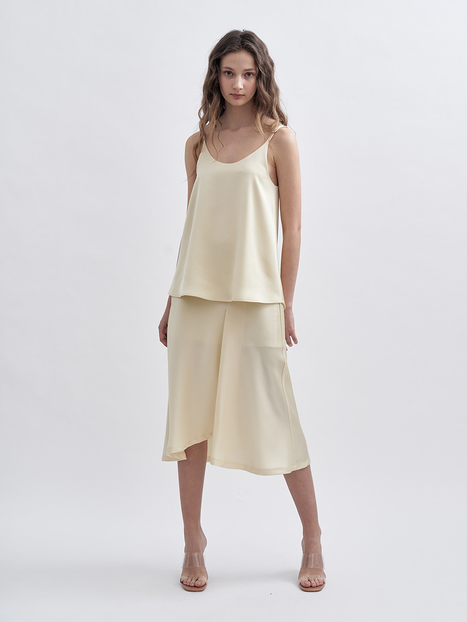 SS UNBALANCED SLIT SATIN SKIRT_YELLOW