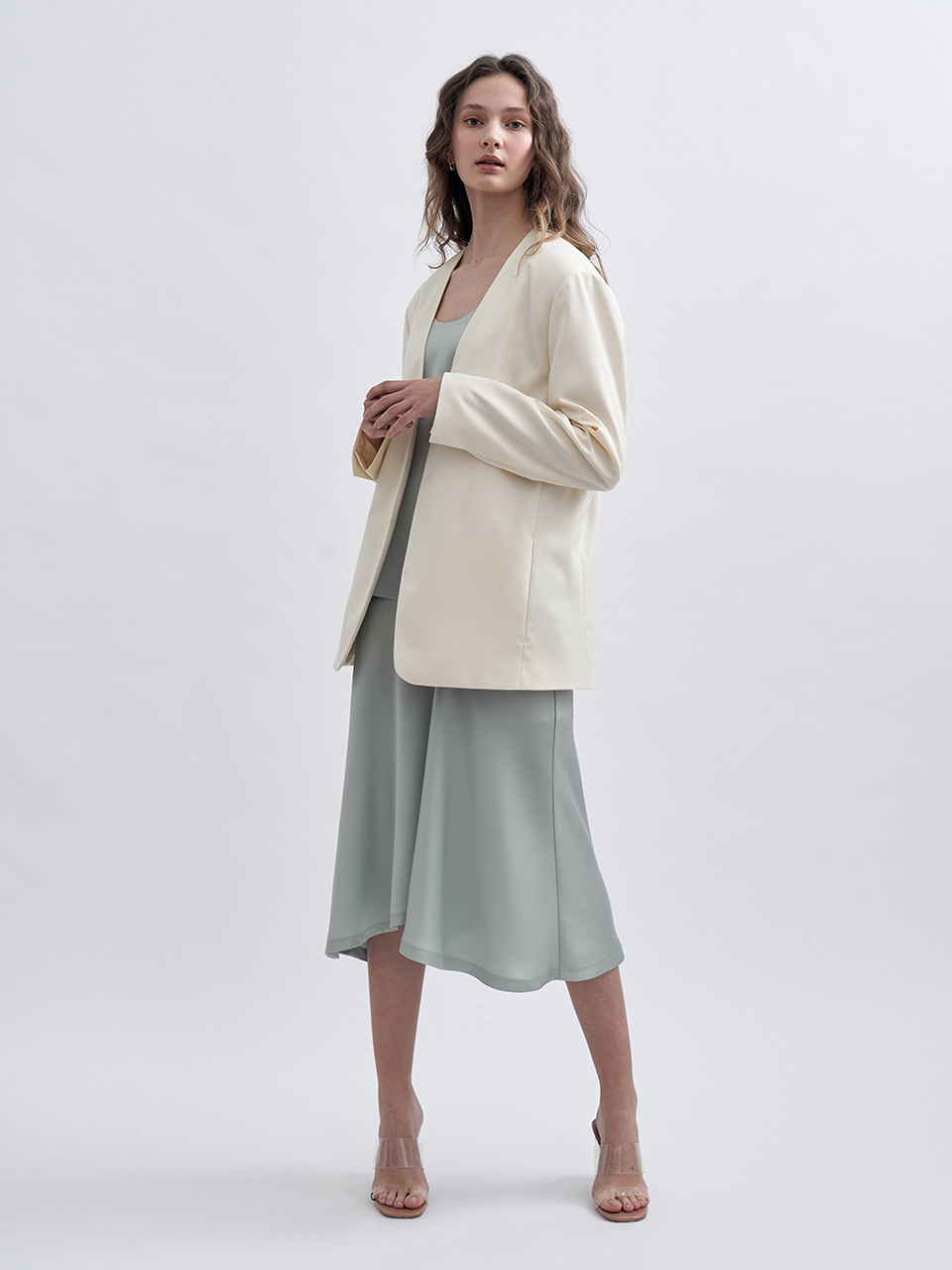LOOSE FIT COLLARLESS JACKET_IVORY
