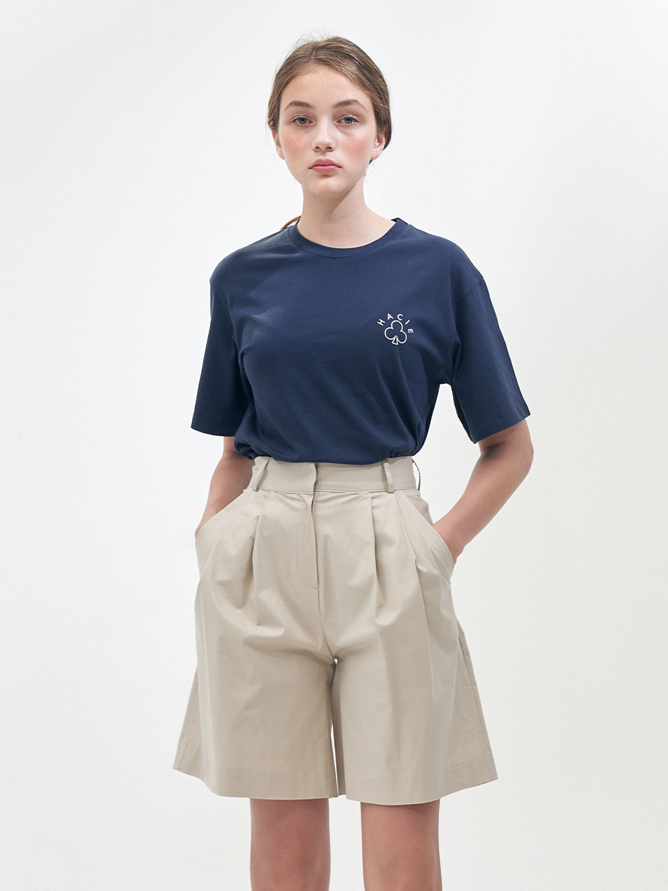 SIDE SLIT CRAYON T-SHIRTS_NAVY