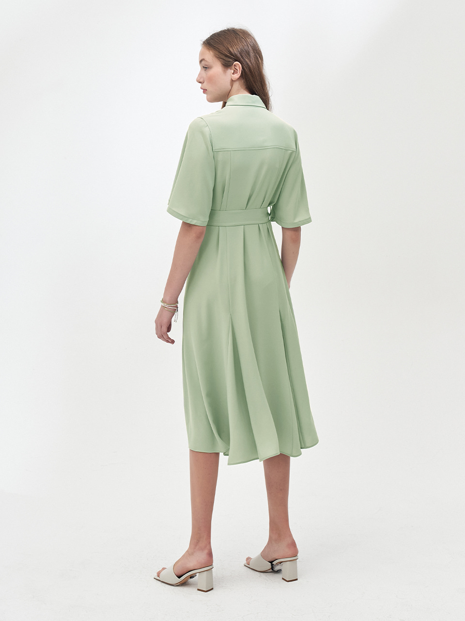 POCKET DETAIL STRAP SHIRT DRESS_MINT