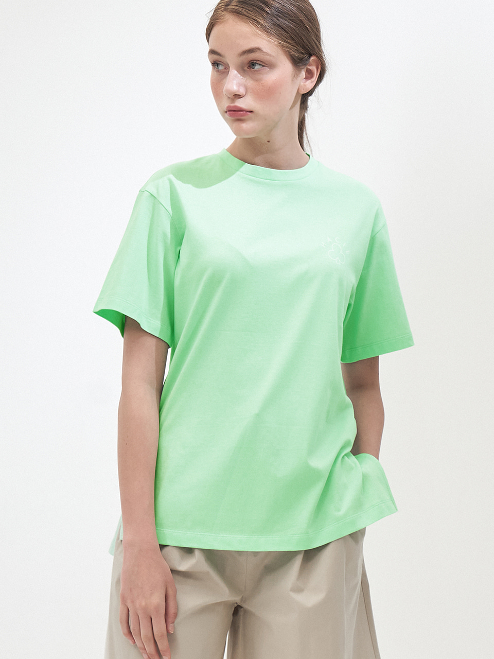 SIDE SLIT CRAYON T-SHIRTS_NEON MINT