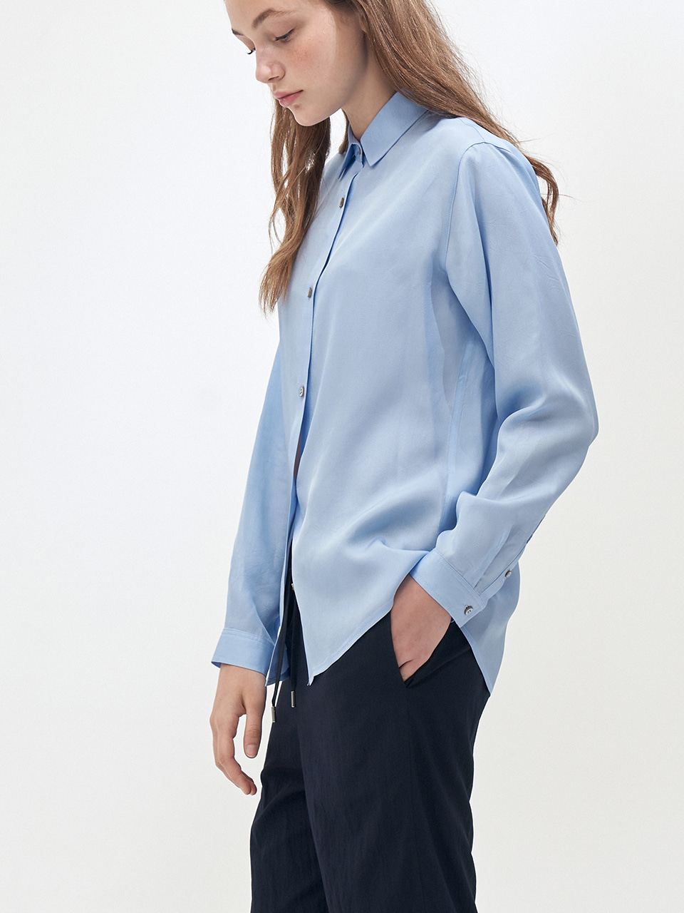 LONG SLEEVE SHERBET SHIRT_SKY BLUE