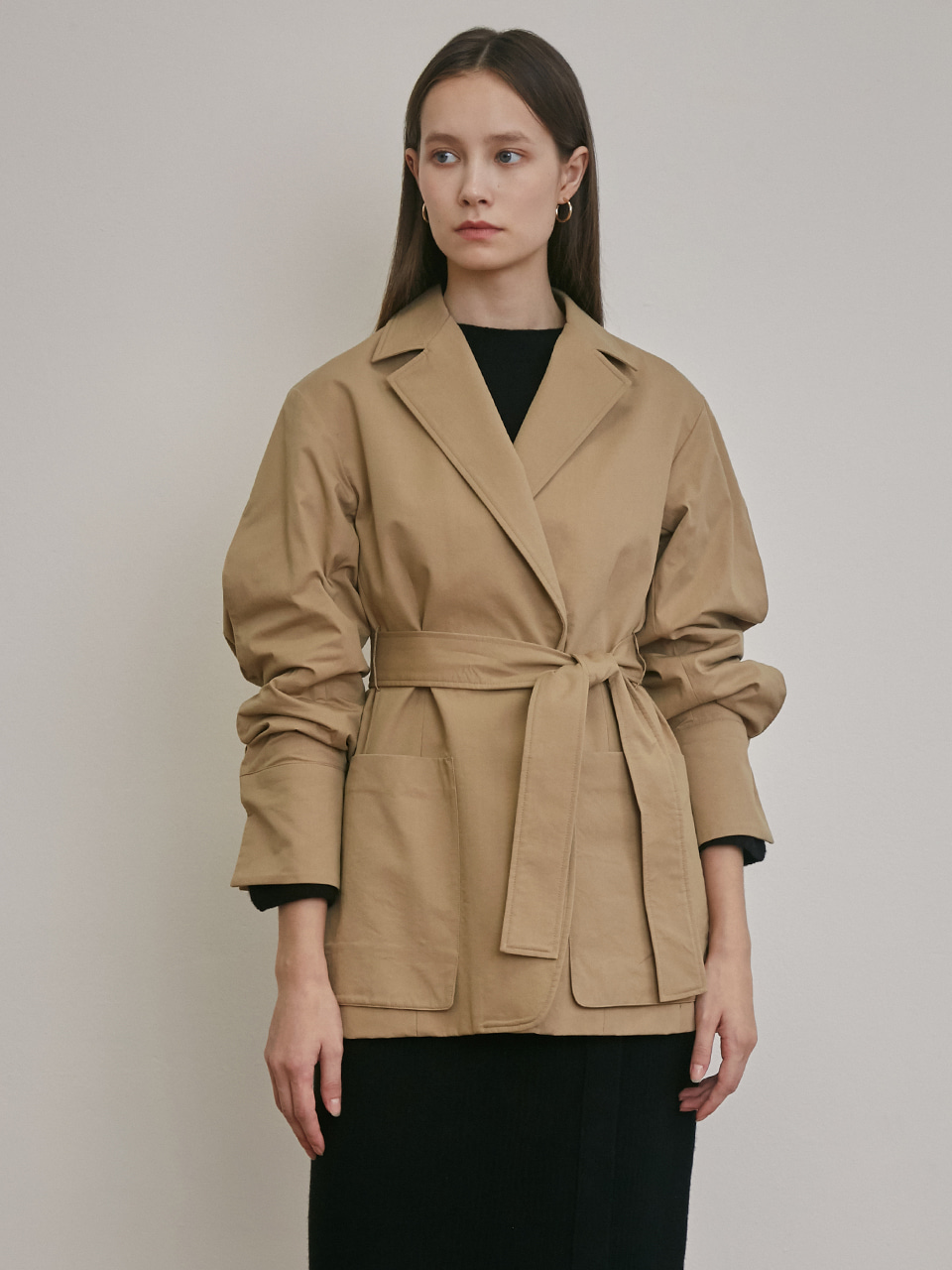BELTED OVERSIZED SHIRTS JACKET [NAVY][BEIGE][CHARCOAL]