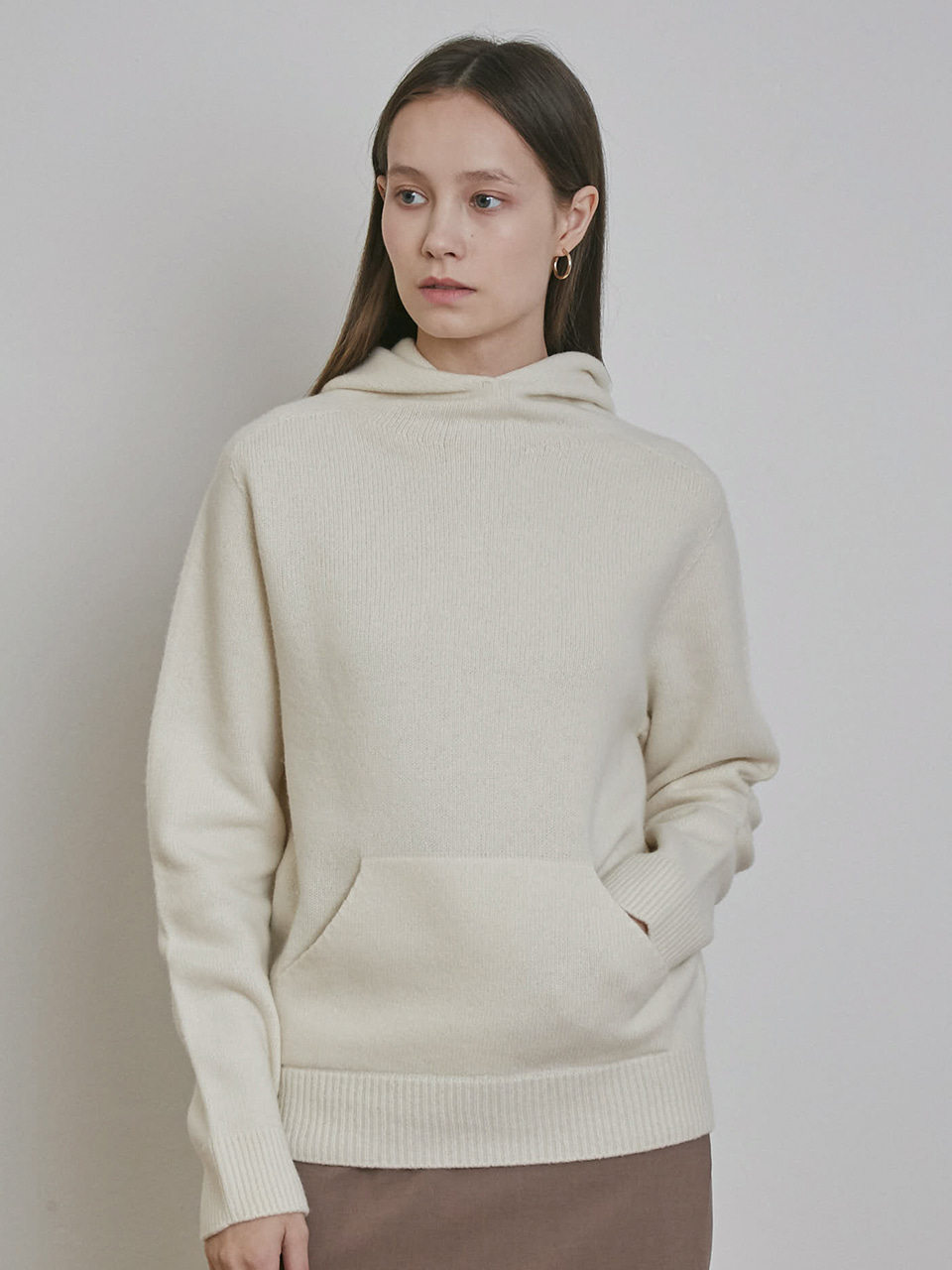 ⓗ CASHMERE HOODED SWEATER [IVORY][GREY][CHARCOAL]