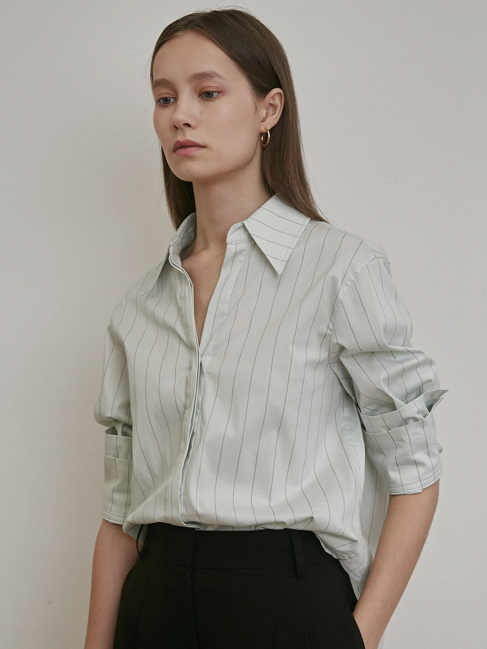 ⓗ LAYERED CUFFS STRIPE SHIRTS [MINT STRIPE]