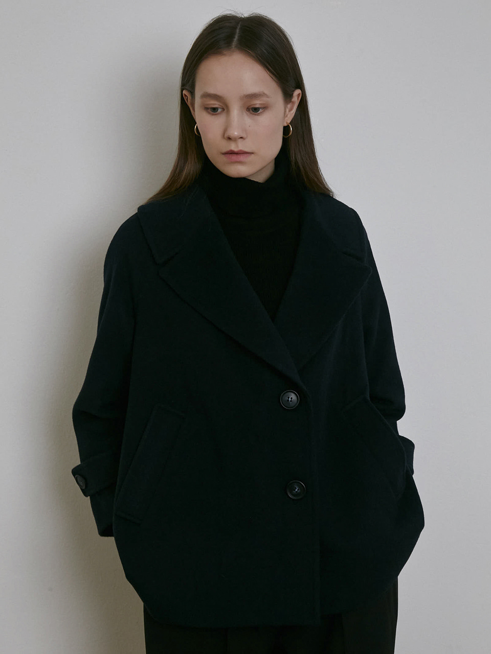 WIDE COLLAR SHORT WOOL COAT [MOKA] [NAVY]