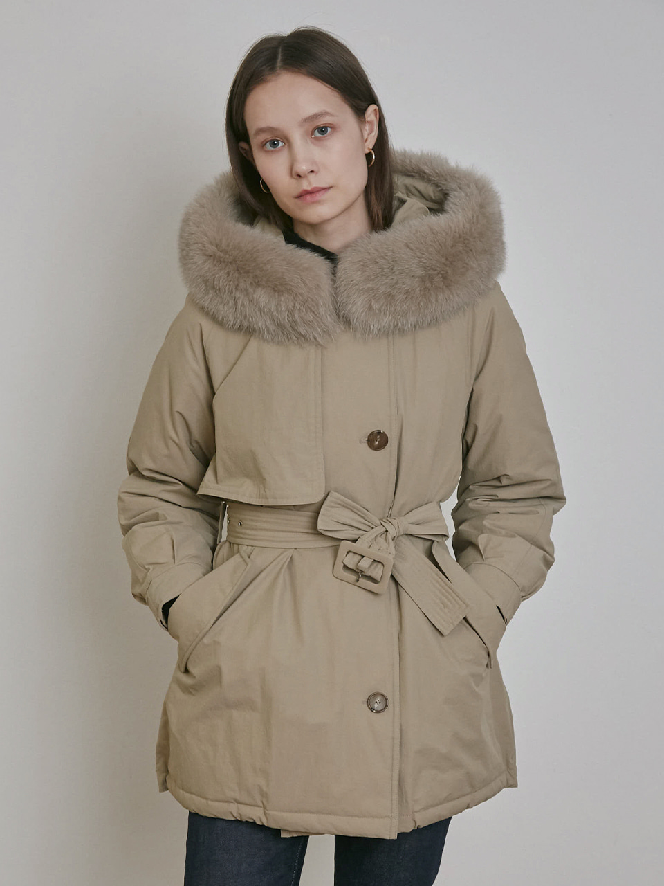 SHORT FOX FUR HOODED GOOSE DOWN JUMPER [KHAKI] [BEIGE]