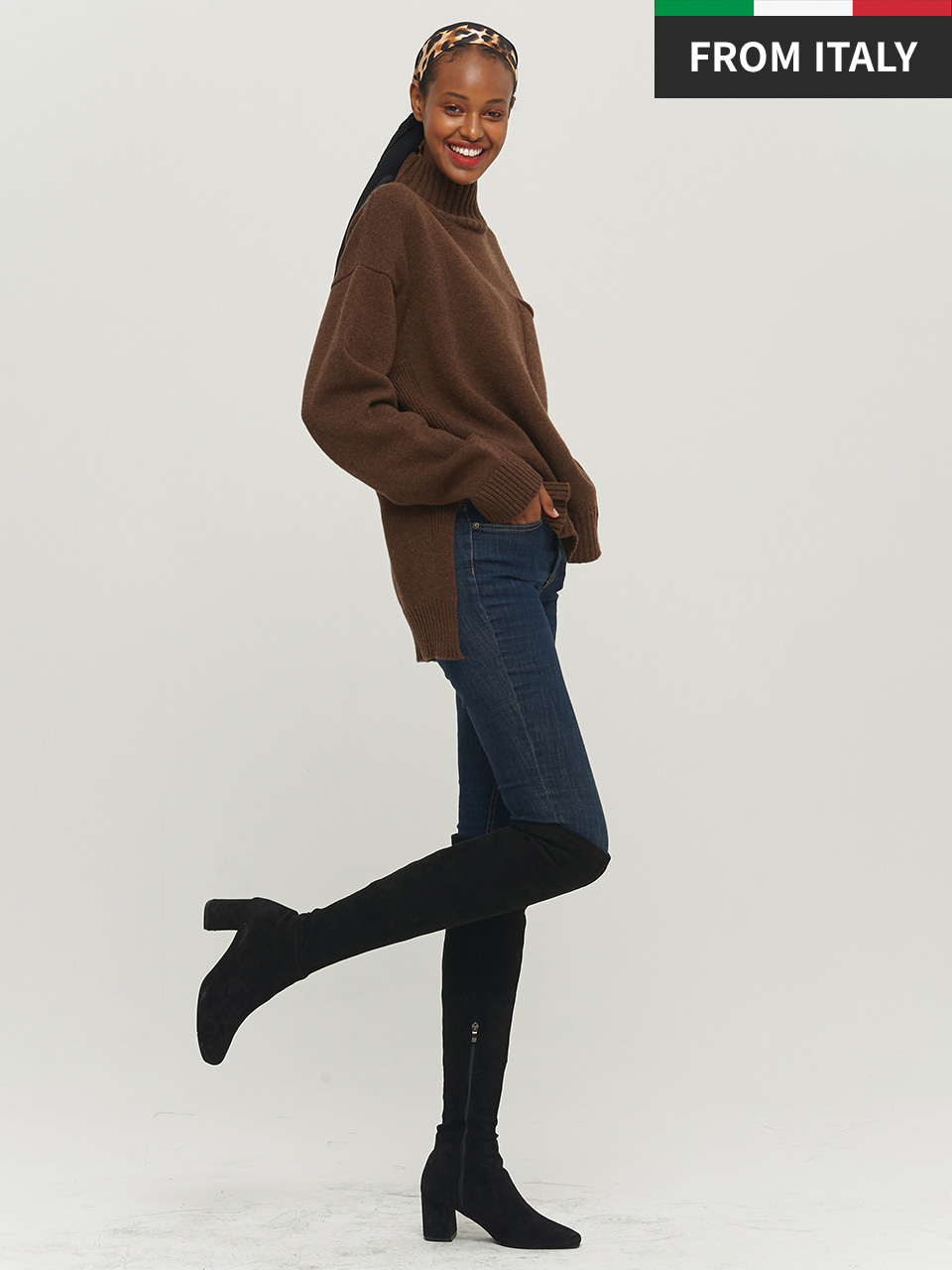 [Premium] POCKET HIGH NECK PULLOVER_DARK BROWN