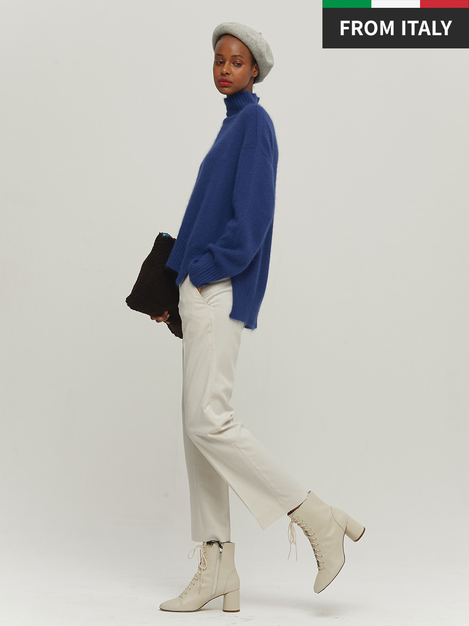 ⓗ [Premium] ANGORA WHOLE GARMENT PULLOVER_COBALT BLUE