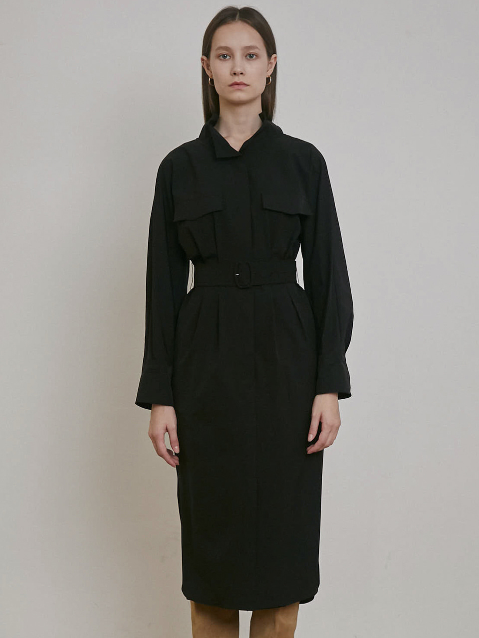 BELTED SLIT DRESS [BRICK] [BLACK]