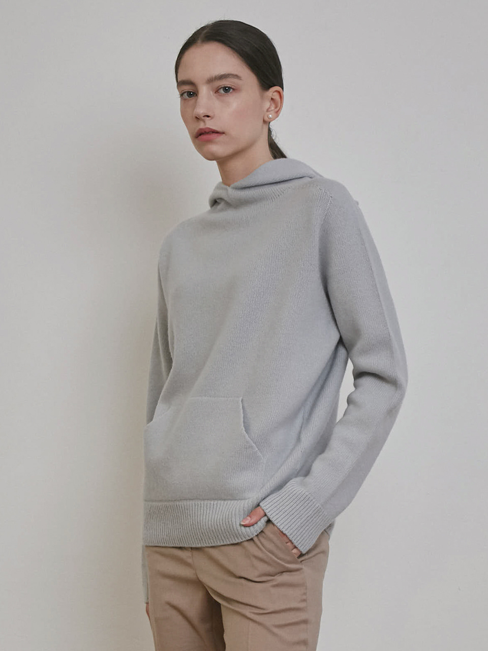 CASHMERE HOODED SWEATER [IVORY][GREY][CHARCOAL]