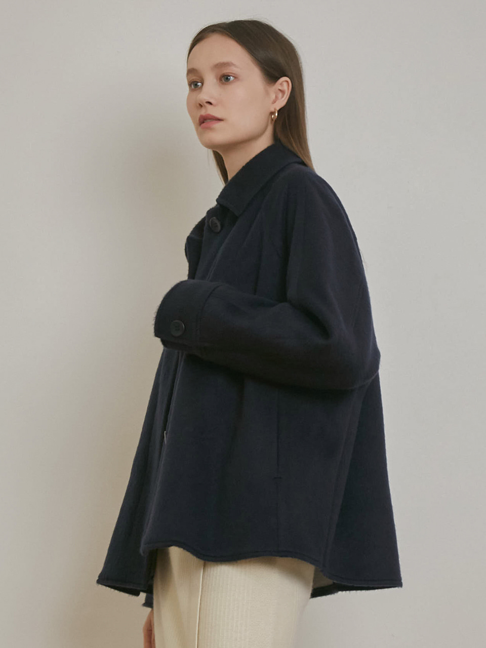 RAGLAN MOHAIR OVERSIZED COAT [NAVY]