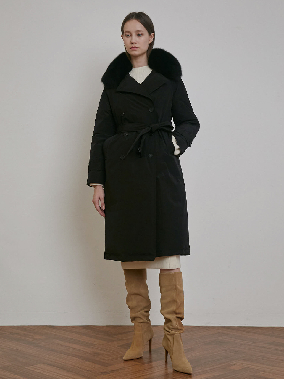 2 WAY FOX FUR TRENCH GOOSE DOWN COAT [BLACK] [BEIGE] [SKY]