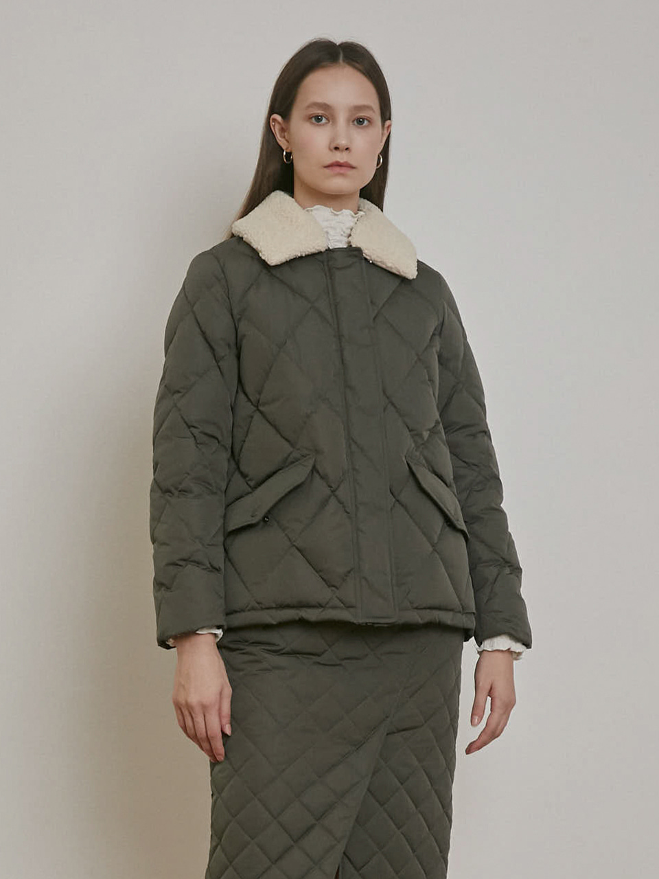 FLEECE COLLAR DOWN JACKET [KHAKI][CREAM][GREY]