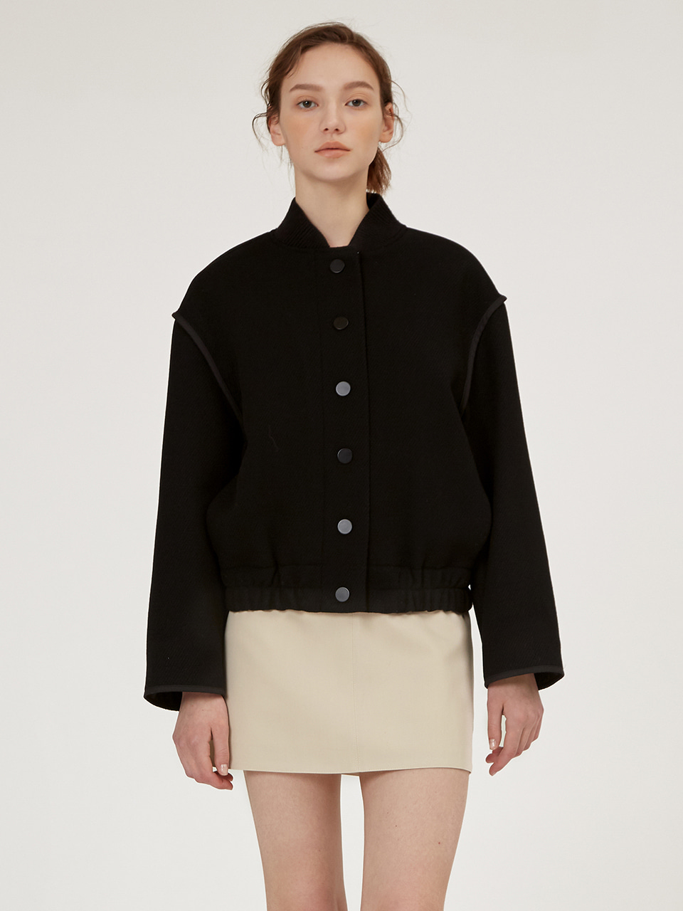 RIBBED KNIT WOOL BLOUSON JACKET