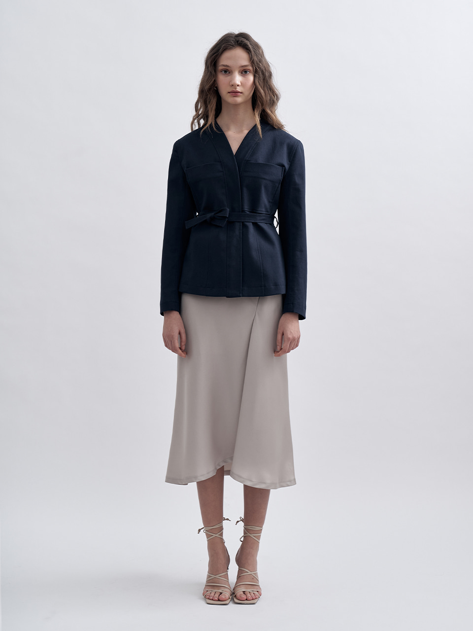 COLLARLESS BELT JACKET_NAVY