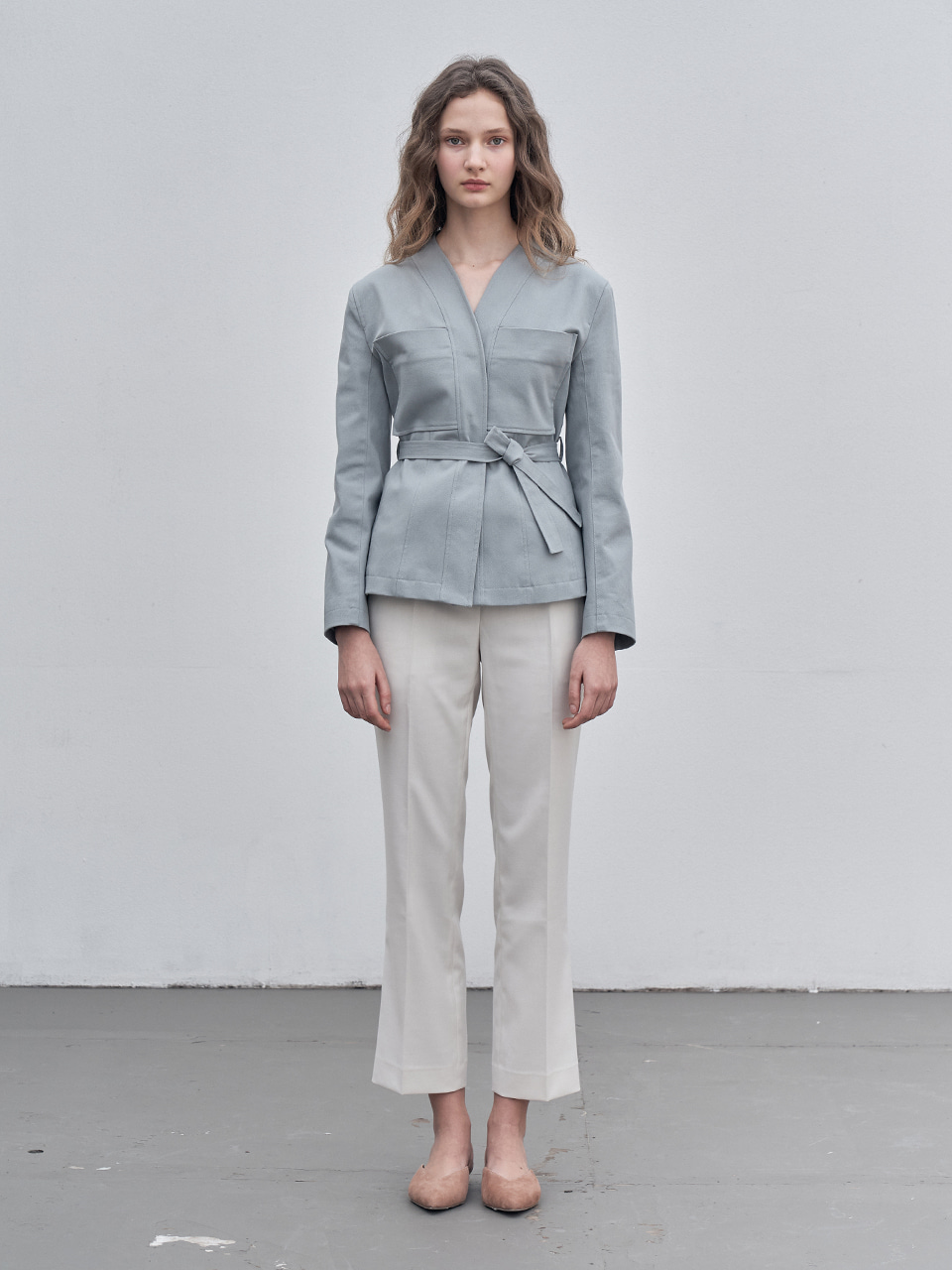 COLLARLESS BELT JACKET_MINT GREY