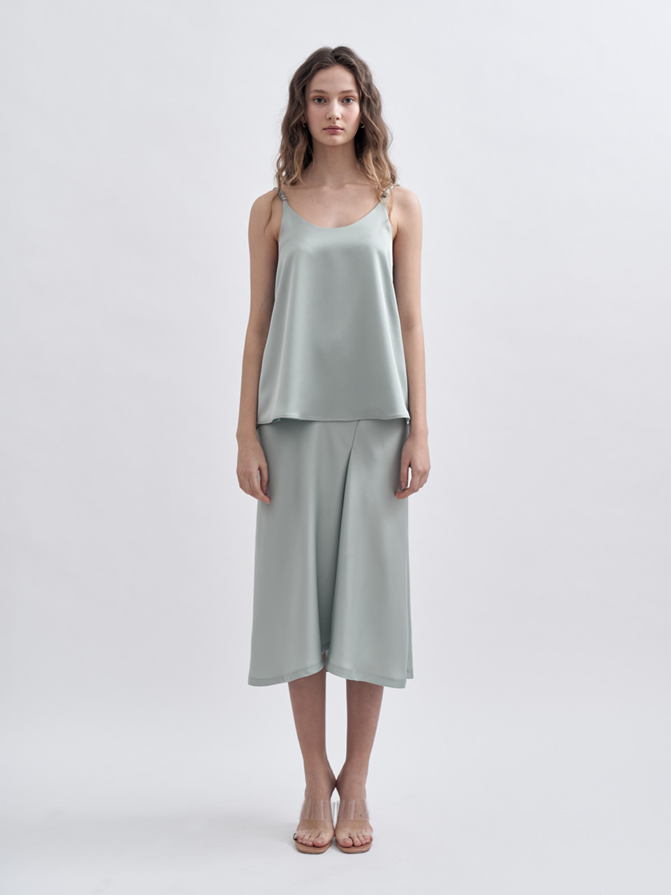 SS UNBALANCED SLIT SATIN SKIRT_MINT