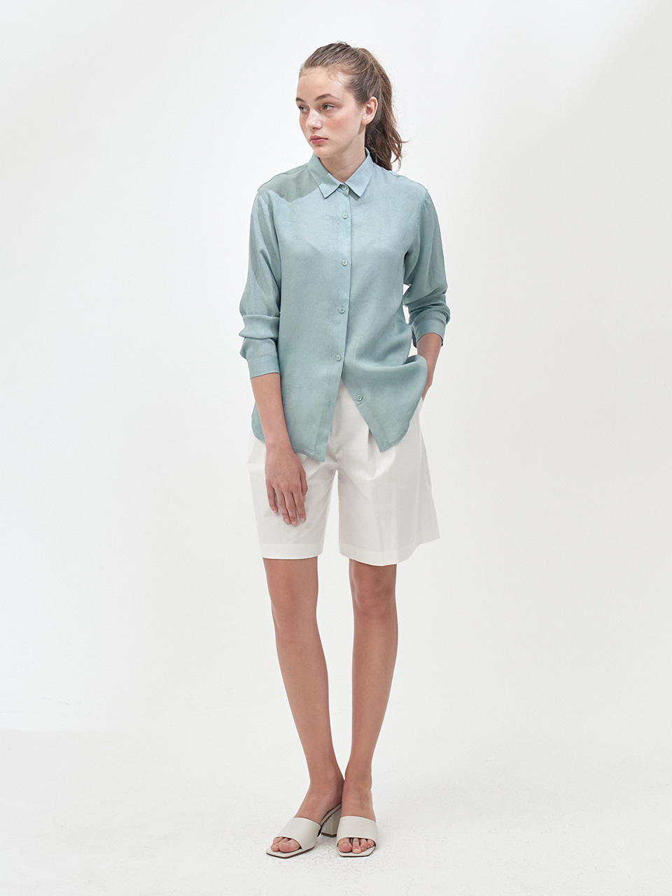 LONG SLEEVE SHERBET SHIRT_MINT GREEN