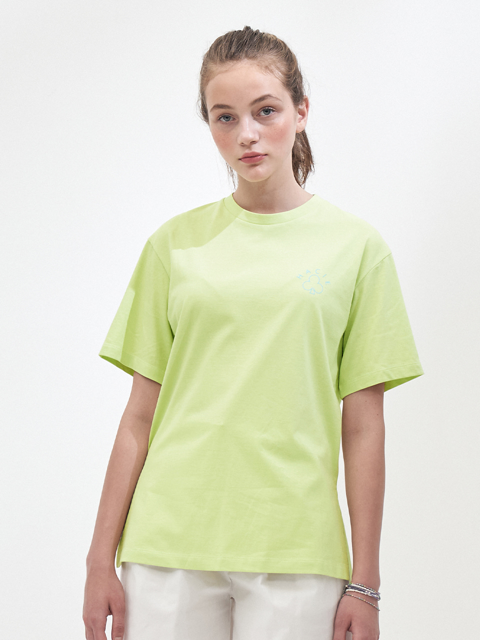 SIDE SLIT CRAYON T-SHIRTS_NEON YELLOW