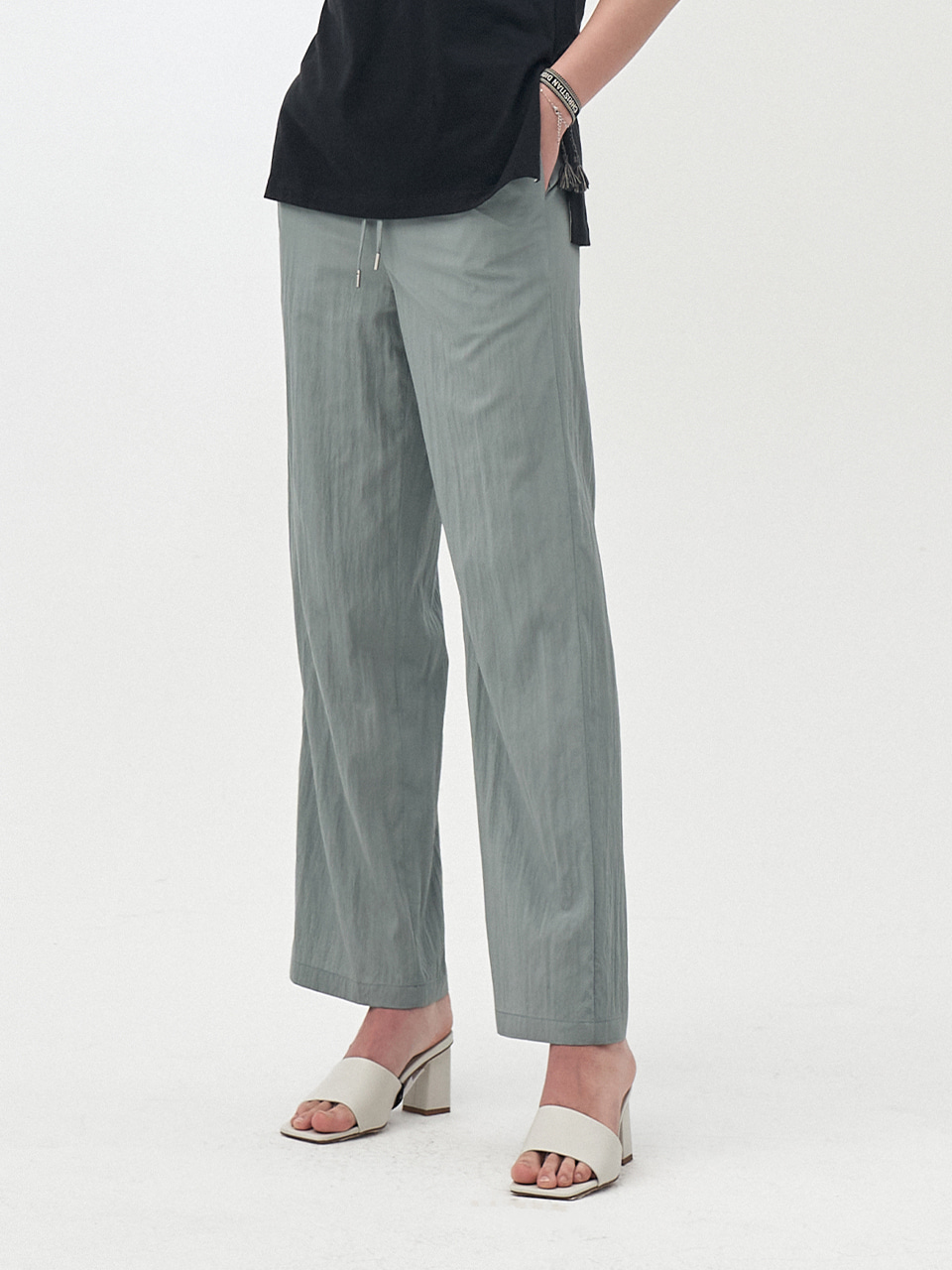STRING PLEATS LONG PANTS_MINT