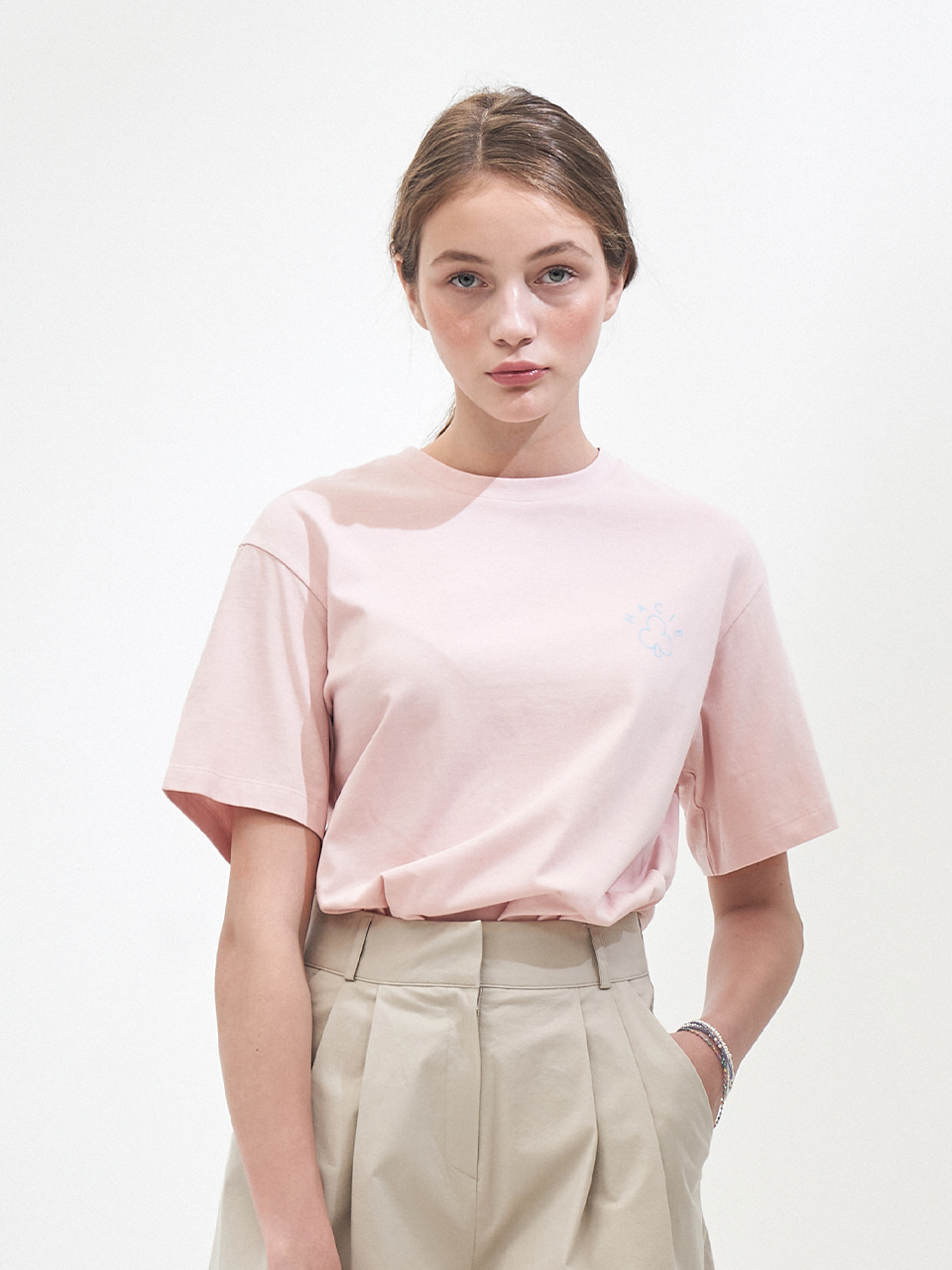 SIDE SLIT CRAYON T-SHIRTS_LIGHT PINK