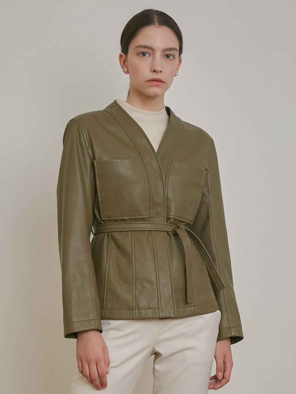 ⓗ FAUX LEATHER COLLARLESS BELT JACKET [BEIGE][BLACK][KHAKI]