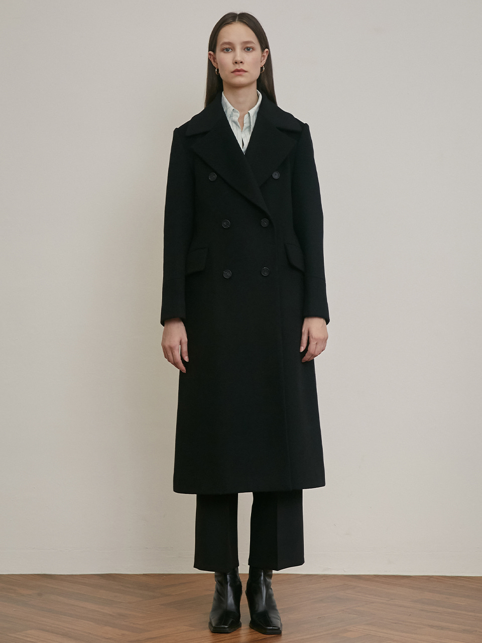 DOUBLE-BREASTED TAILORED WOOL COAT [BLACK] [MOKA]