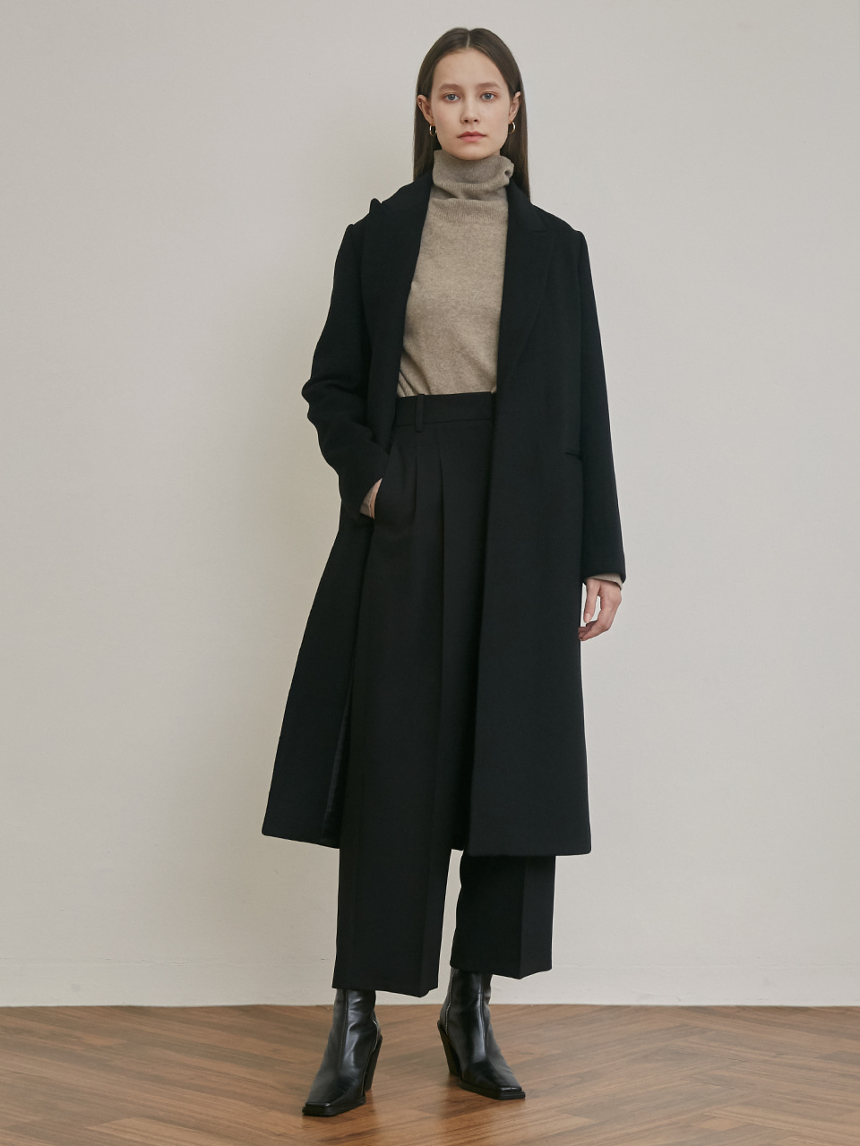 BELTED ROBE OPEN LONG WOOL COAT [BLACK] [CAMEL]