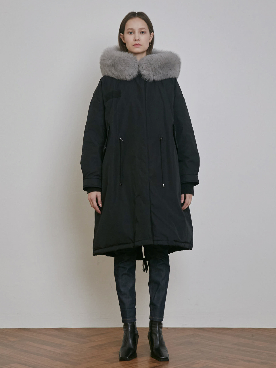 FOX FUR HOODED GOOSE DOWN  LONG JUMPER [BLACK]