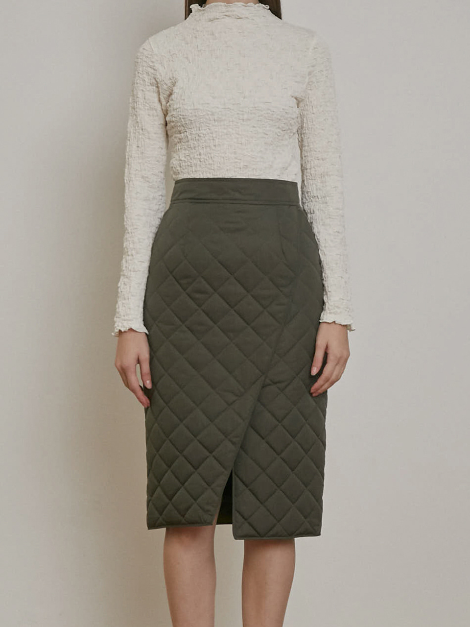 SLIT DETAILED PADDING SKIRT [KHAKI][GREY][CREAM]