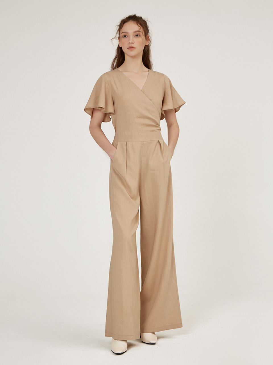 LINEN BLENDED SHORT SLEEVE JUMP SUIT [Sand Beige] [Olive] [Black]