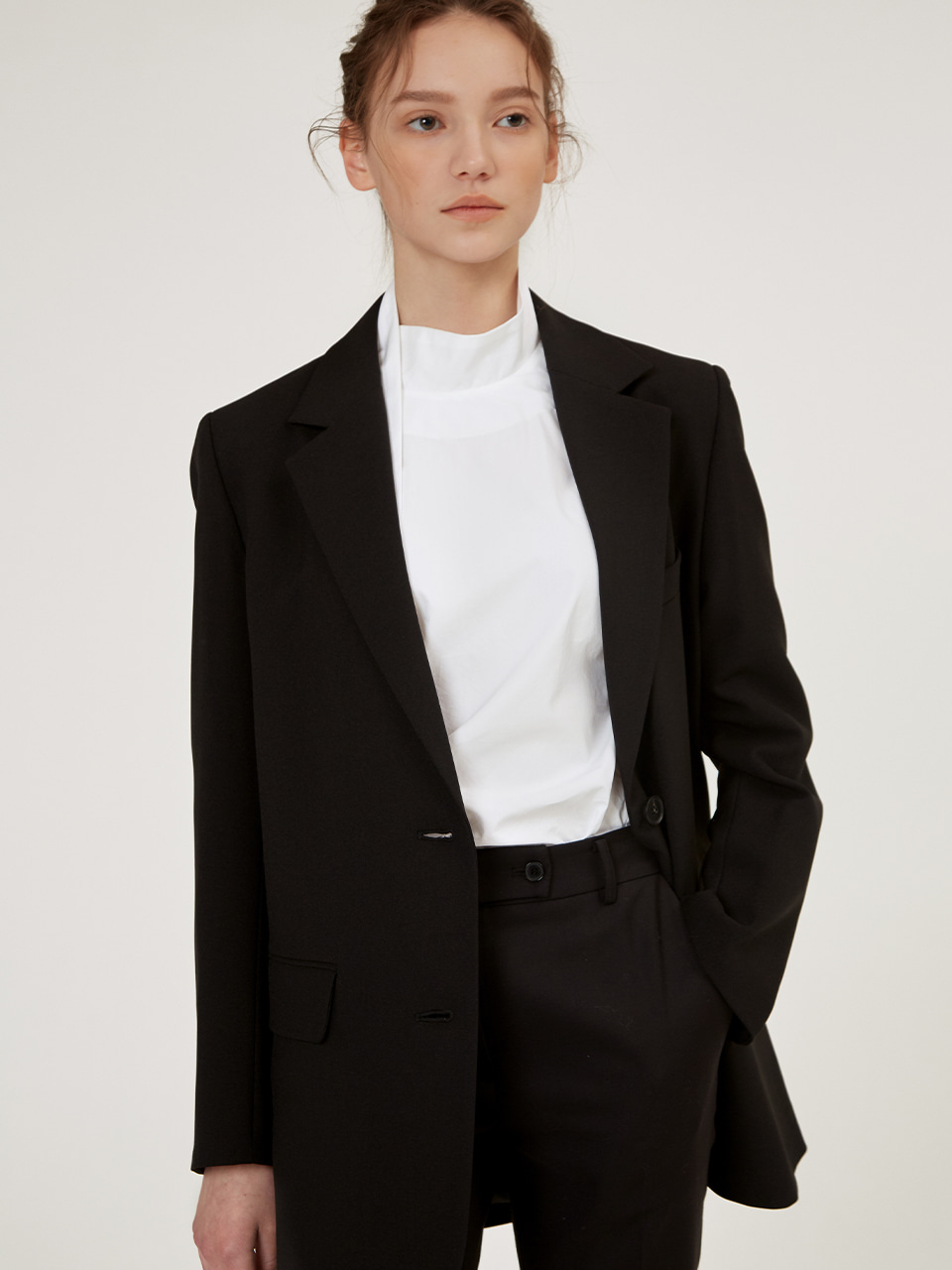 TAILORED SINGLE BLAZER JACKET [BLACK] [BEIGE]