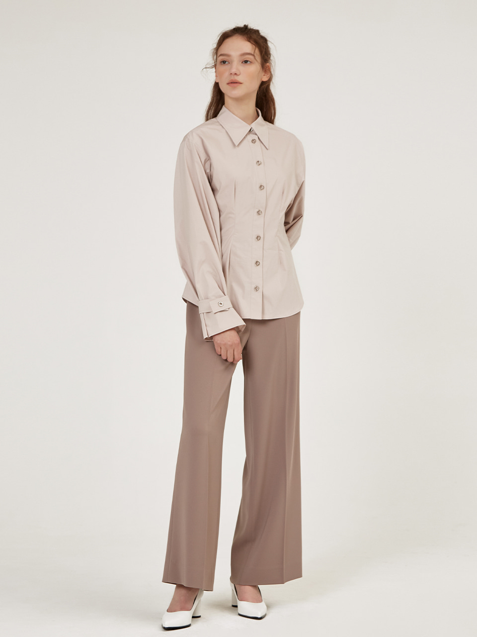 RING BUTTON POINTED COLLAR SHIRTS [Ivory] [Toff Beige]